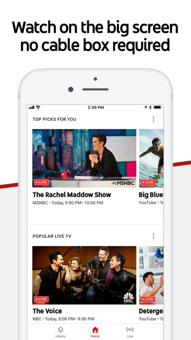 Screenshot of YouTube TV App