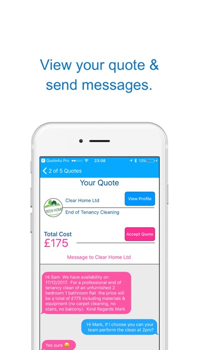 Quote4u - Cleaning On-Demand screenshot four