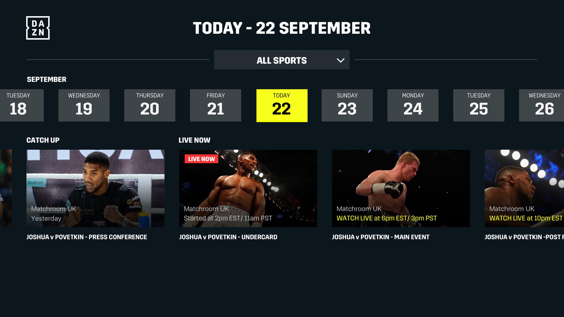 DAZN: Live Sports Streaming screenshot 16
