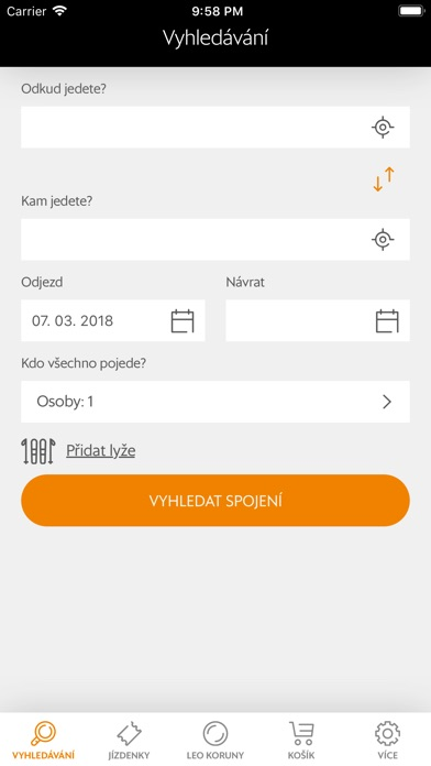 Screenshot of Leo Express App