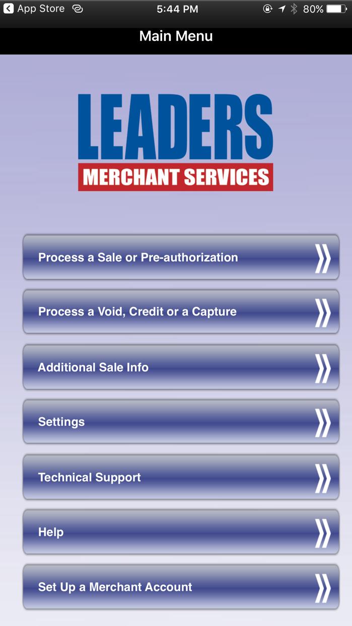 Leaders Credit Card Processing Screenshot