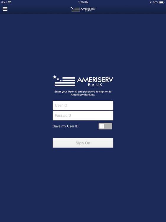 AmeriServ Banking for iPad