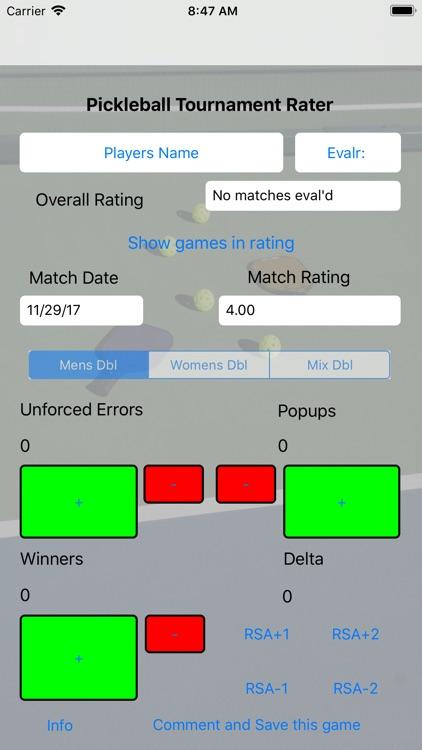 Pickleball Tournament Rater