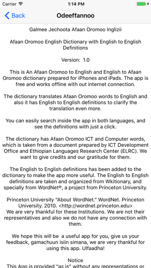 Galmee Jechootaa - Afaan Oromoo English Dictionary on the App Store