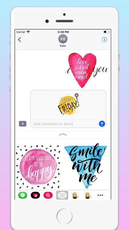 Watercolor Text Emoji Stickers