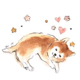 Watercolor Shiba Inu Dog - Shibamoji Sticker
