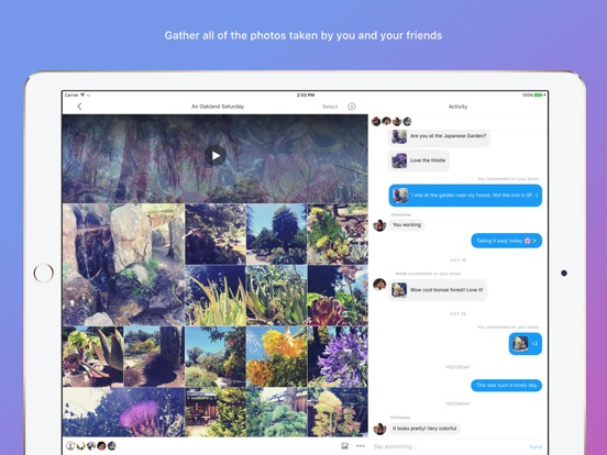 Moments–private shared albums iPad