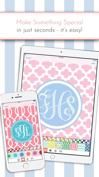 Monogram It! is an easy, fun way to make custom monogrammed wallpapers for your iPhone or iPad.