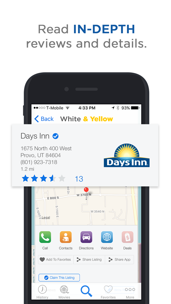 White & Yellow Pages Screenshot