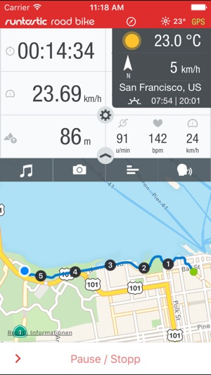 Runtastic Road Bike GPS PRO Screenshot