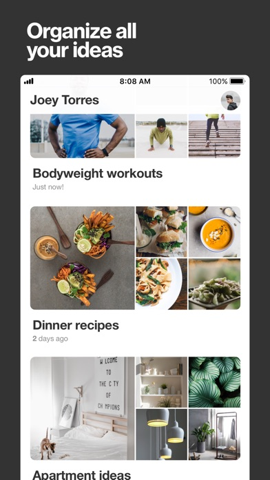 Pinterest Screenshot on iOS