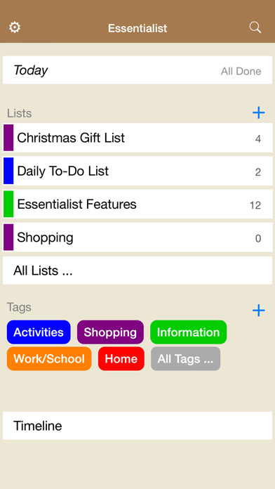 Essentialist - Checklist screenshot one
