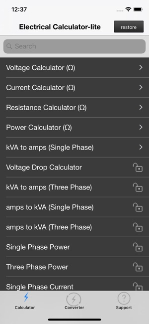 Electrical calculator lite on the app store screenshots keyboard keysfo Image collections