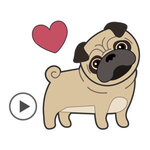 Pugs & Kisses Animated Sticker app