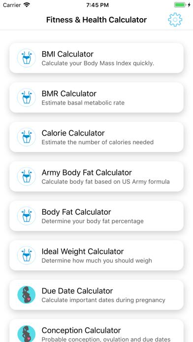 Fitness and Health Calculators - App - iPod, iPhone, iPad