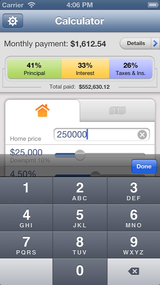 Калькулятор ипотеки для iPhoneСкриншоты 2