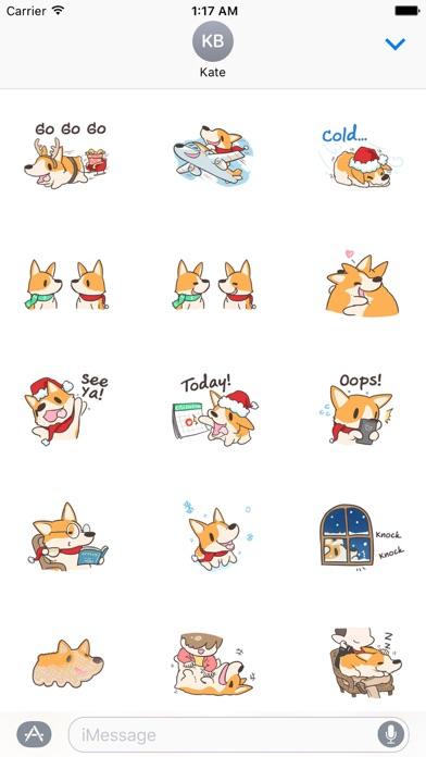 Merry Xmas Corgi Dog Sticker screenshot 2