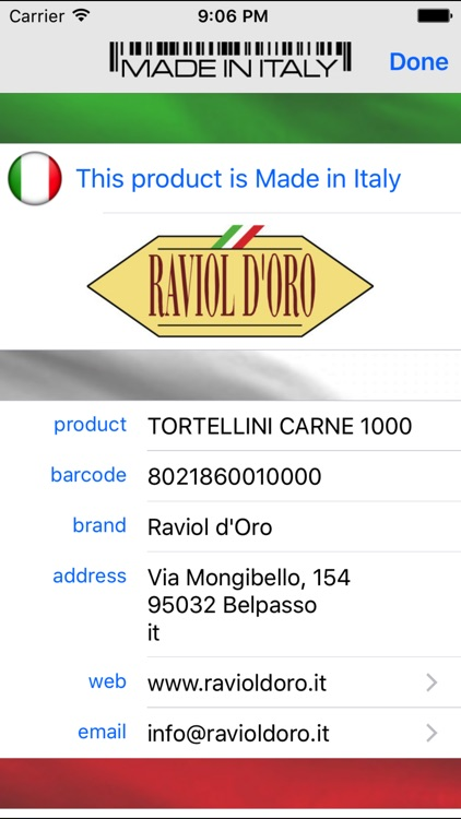 Made in Italy - Tap to scan