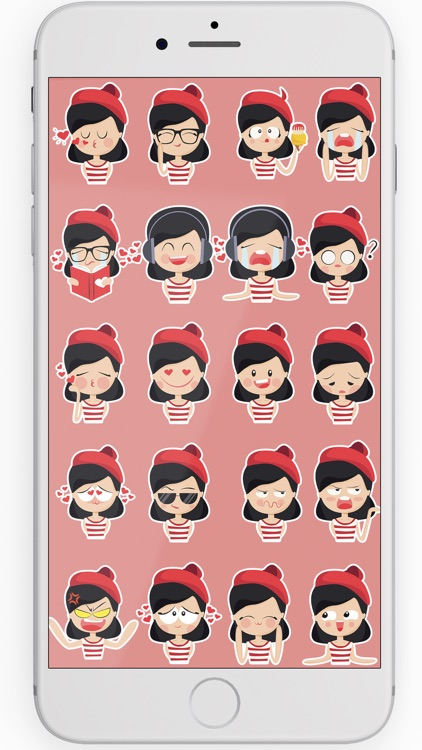 Red Beret French Girl Stickers