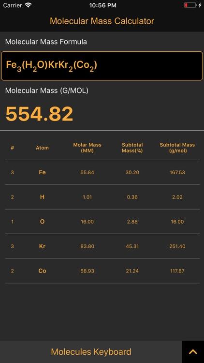 Molecular Mass Calculator Pro screenshot-3