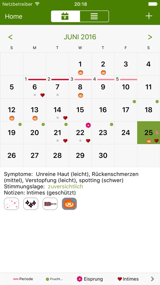 Menstruations Kalender Deluxe Screenshot