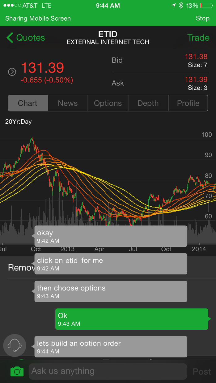 TD Ameritrade Mobile Trader Screenshot