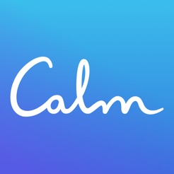 Via Itunes.com [Image description: Calm app logo, the word 'Calm' in cursive script against a blue backdrop.]