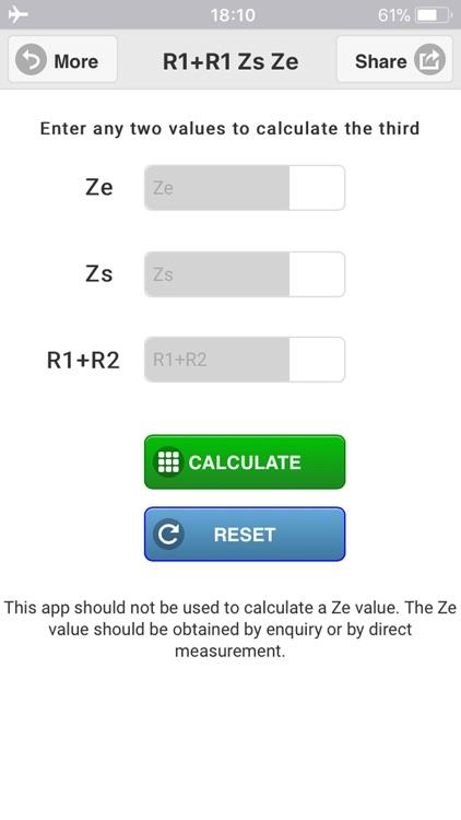 R1+R2 Zs Ze Calculator