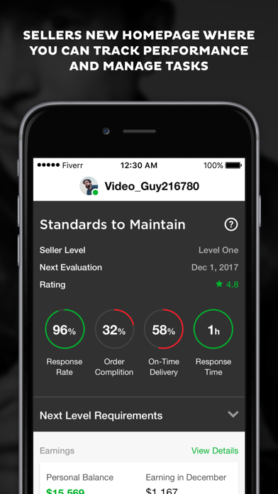 Screenshot 1 for Fiverr's iPhone app'