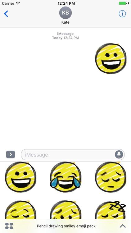 Pencil drawing smiley emoji pack screenshot-3