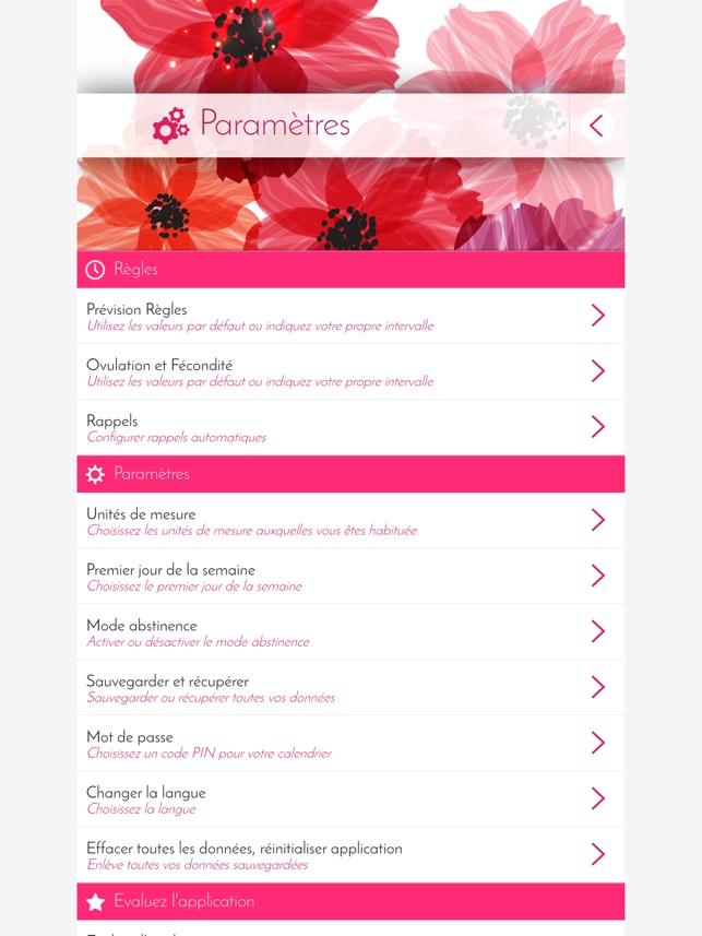 Calendrier Pour Les Regles.Calendrier Des Regles Suivi Dans L App Store