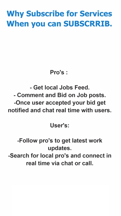 Subscrrib : Find Local Pro's
