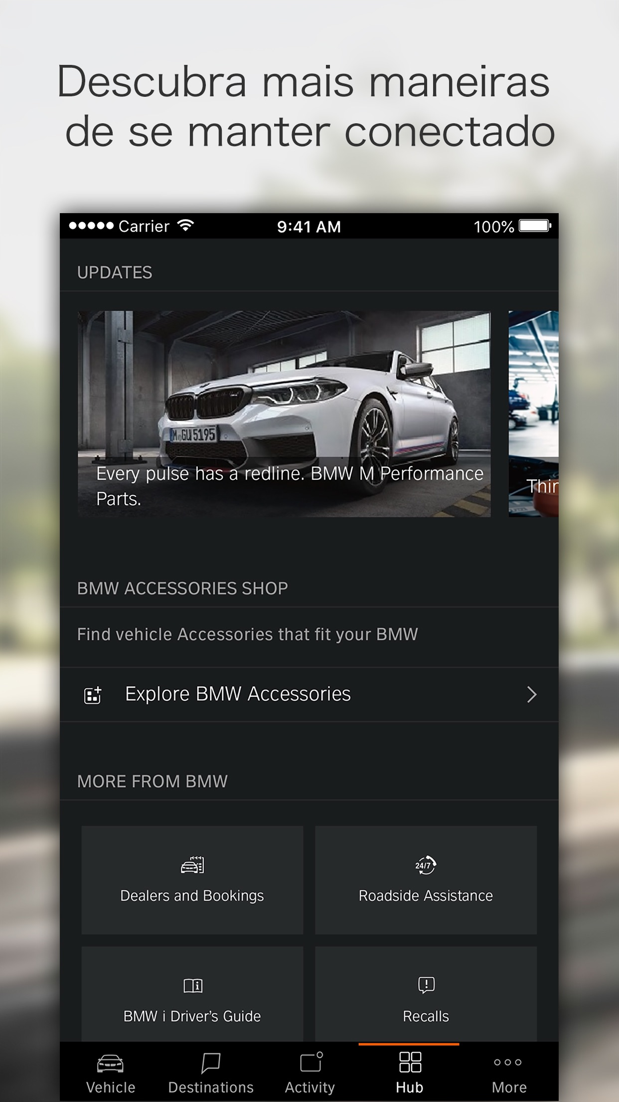 Screenshot do app BMW Connected