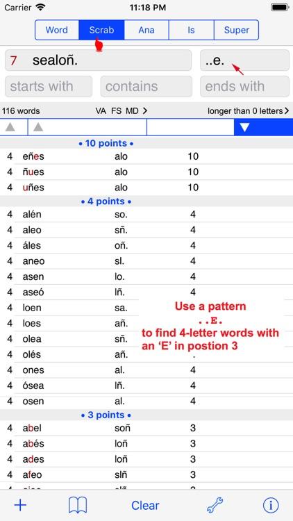 Español Words Finder PRO screenshot-3
