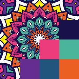 Kaleidoscope Pixel Art Mandala