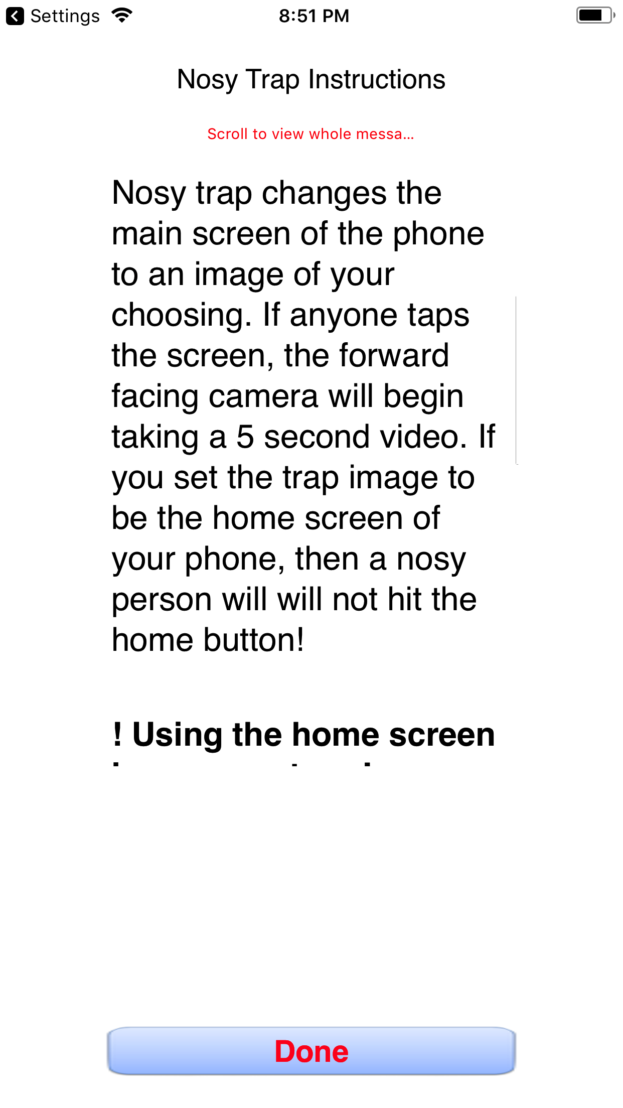Nosy Trap, anti snooping app Screenshot