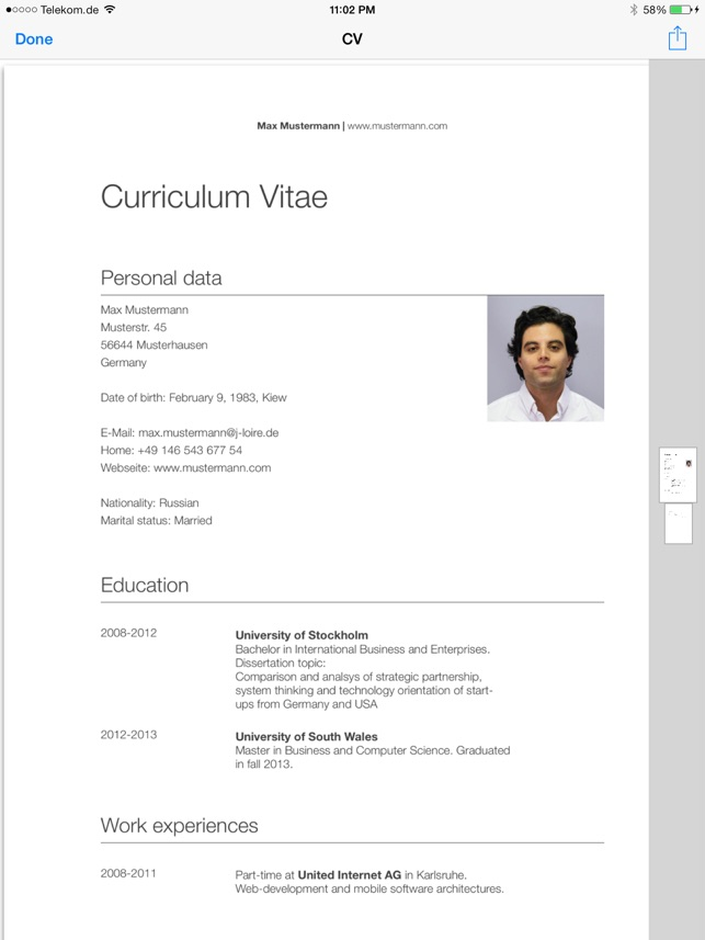 Ipad Screenshots Sample Combination Professional Curriculum Vitae