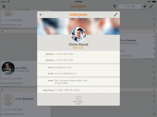 Contaqs - der Kontaktmanager Screenshot