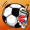 Futebol! Livro para colorir para as crianças a aprender sobre o jogo com a bola