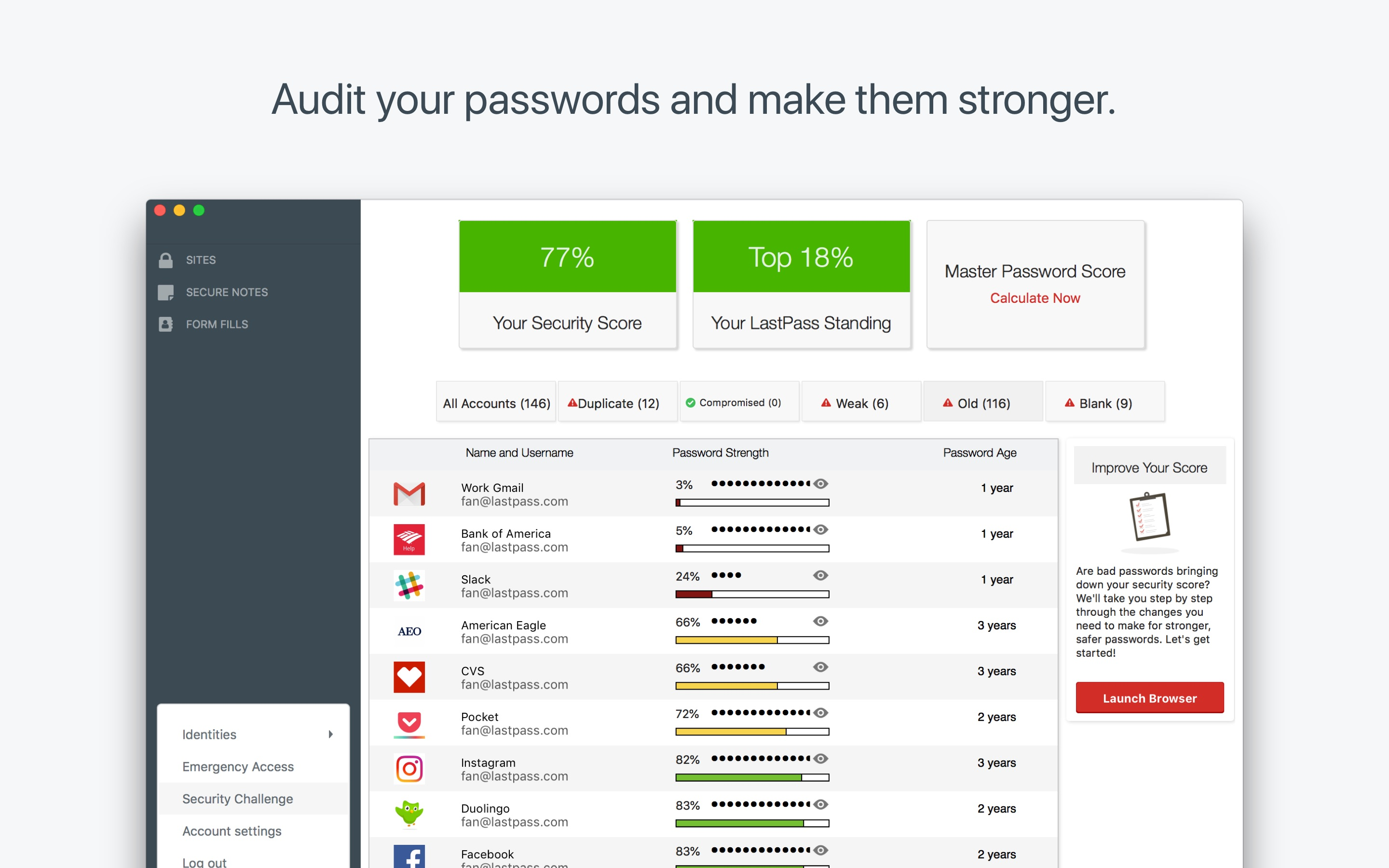 Screenshot do app LastPass Password Manager