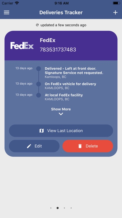 Deliveries Tracker