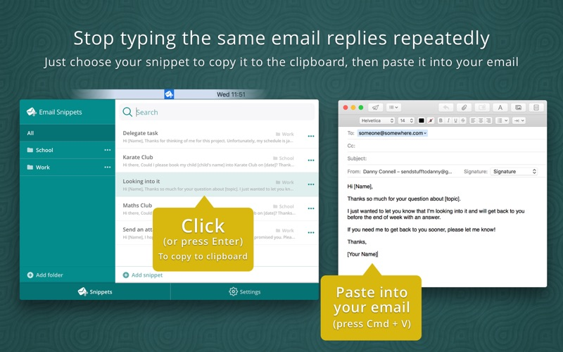 Email Snippets Screenshot