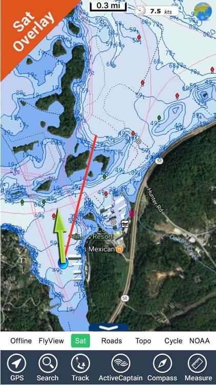 Chickamauga Lake Tennessee HD GPS fishing charts