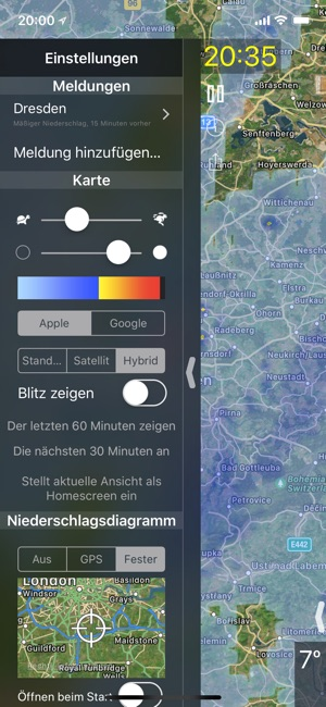 Regenmeldung Screenshot