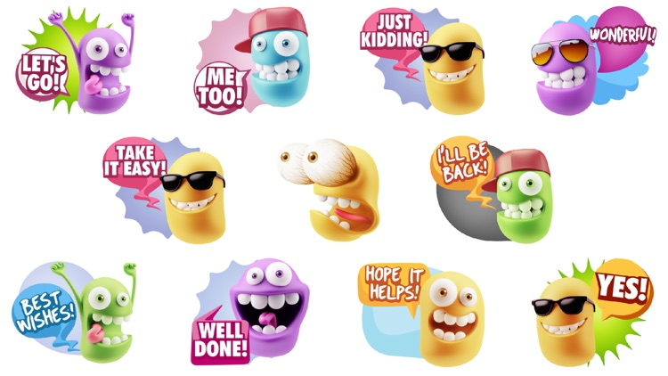 3D Funny Face Emoji Stickers