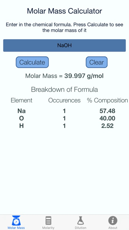 Molar Mass Molarity Calc