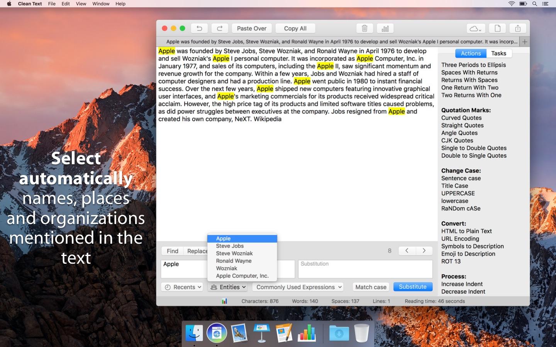 Screenshot do app Clean Text