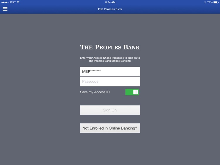 The Peoples Bank for iPad