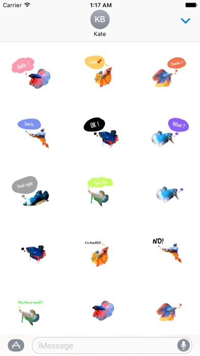 Watercolor Betta Fish Sticker screenshot one