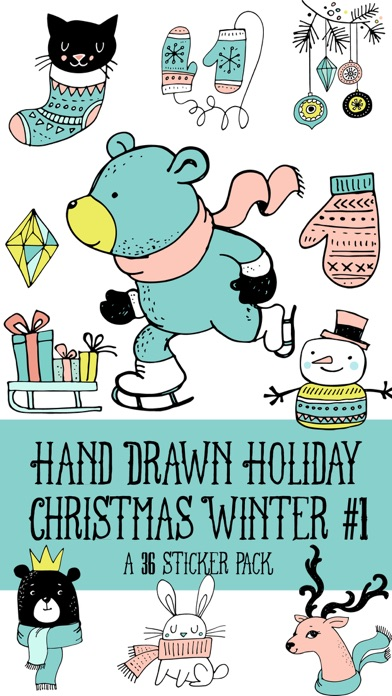 Hand Drawn Holiday Christmas Winter 1 Sticker Pack